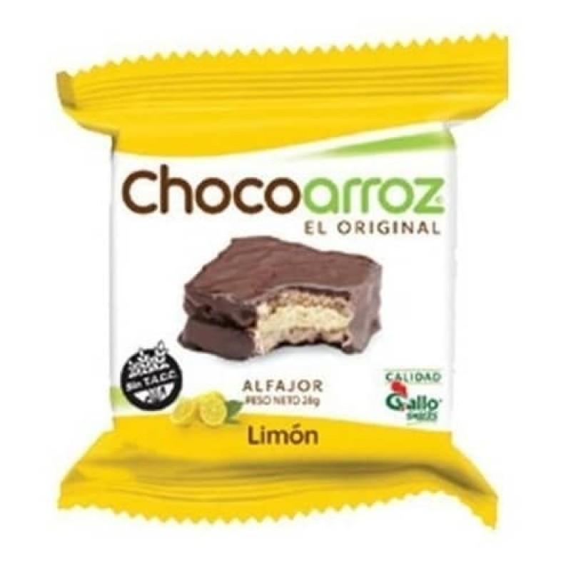 Chocoarroz Alfajor de Arroz Relleno Sabor Limon Cubierto con Chocolate 22gr