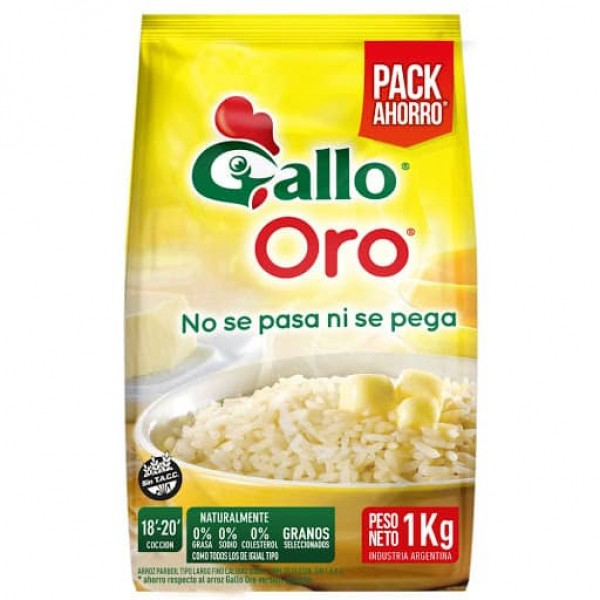 Gallo Oro Arroz Parboil Largo Fino 1kg