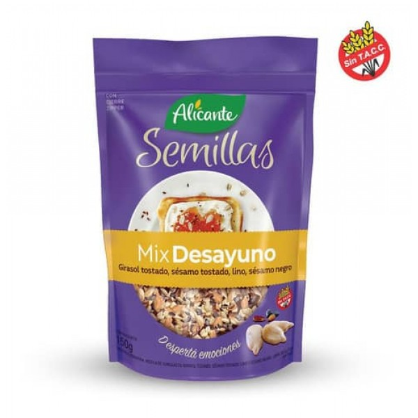 Alicante Semillas Mix Desayuno Girasol Tostado, Sesamo Tostado, Lino, Sesamo Negro 150gr