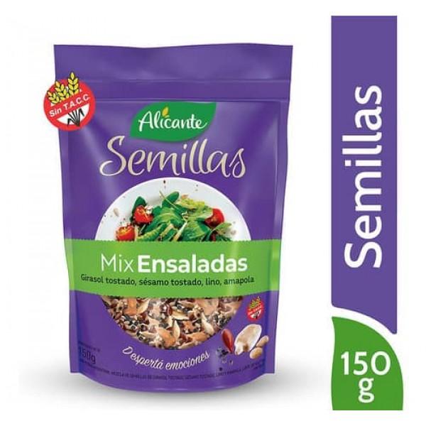 Alicante Semillas Mix Ensaladas Girasol Tostado, Sesamo Tostado, Lino, Amapola 150gr