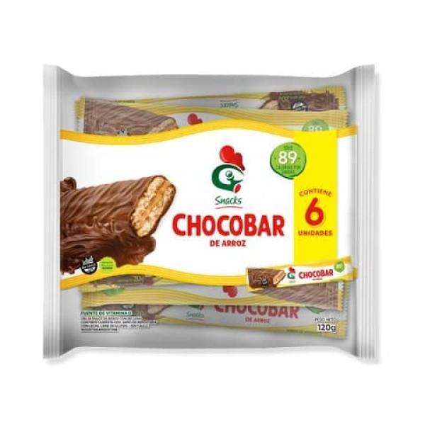 Chocobar Oblea de Arroz con Mani Cubierta con Chocolate 6 Unidades 120gr
