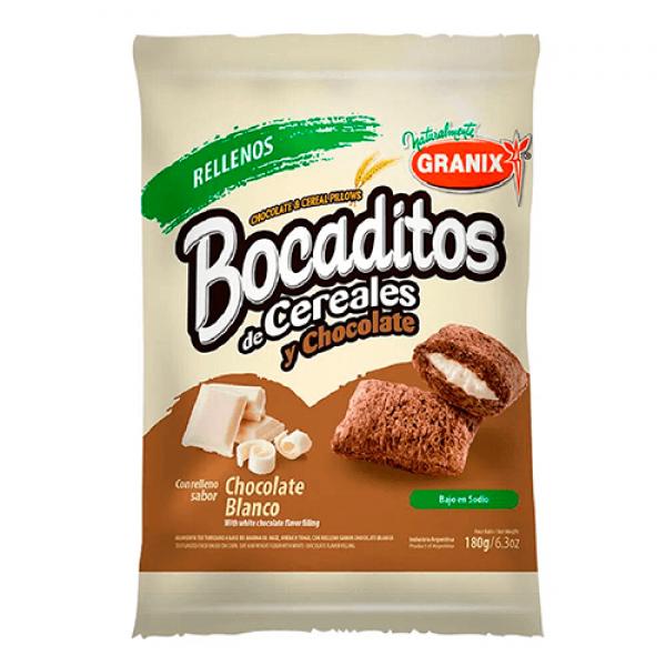 Granix Bocaditos de Cereales y Chocolate Relleno Sabor Chocolate Blanco 180gr